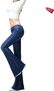 ヨーロッパとアメリカのトレンド綿のファブリックジーンズパンツは、ファッションの大きなベルのボトムを分離 ガールズ (Color : Blue-A, Size : XXL-31)