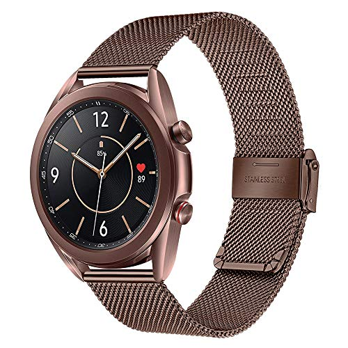 TRUMiRR Ersatz für Galaxy Watch 3 41mm Mystische Bronze Armband, Mesh Gewebt Edelstahl Uhrenarmband Quick Release Armband Business Ersatzband für Samsung Galaxy Watch3 41mm Smartwatch