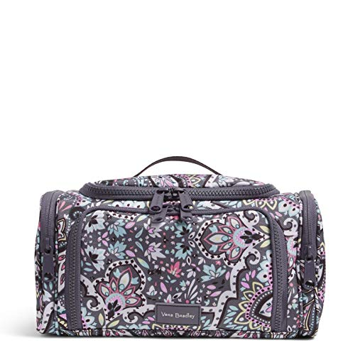 Vera Bradley Women's Recycled Lighten Reactive Large Travel Cosmetic Organizer Makeup Bag, Bonbon Medallion, One Size US