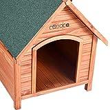 XXL Hundehütte Hundehaus Hund Echtholz Massiv Wetterfest Dachluke Spitzdach Holz - 5