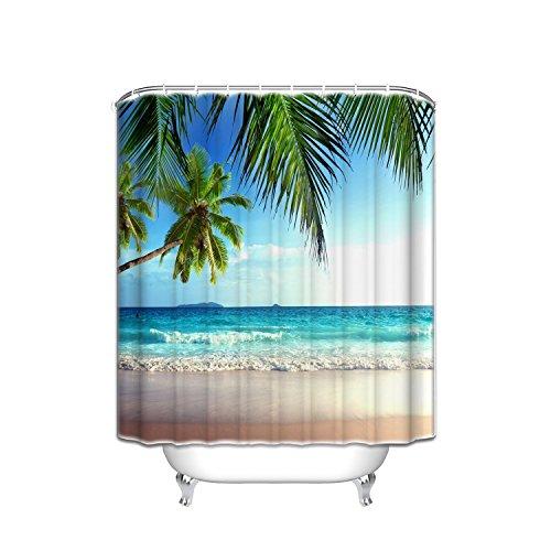 Violetpos Palmen Ozean Tropischer Strand Duschvorhang Badezimmer Dekorative 90 x 180 cm