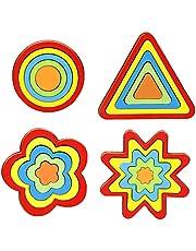 STOBOK 4 Stks Houten Puzzel Voor Kinderen Volwassenen Vorm Patroon Blok Tangram Hersenkraker Speelgoed Geometrie Logica IQ Spel Stam Montessori Educatief Cadeau Voor Alle Leeftijden