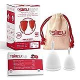 Copa Menstrual Sileu Cup Classic - Alternativa ecológica y natural a tampones y compresas - Bolsa de regalo - Talla S + L, Transparente