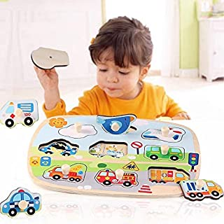 JJSFJH New Hand Grab Board Wooden Puzzle Toys Baby Early Educational Learning toys hand grip Vehicle Animal jigsaw puzzle ...