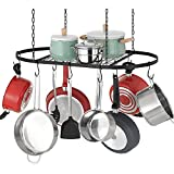 Finnhomy Pot and Pan Rack for Ceiling with 12 Hooks — Decorative Oval Mounted Storage Rack Hanging...