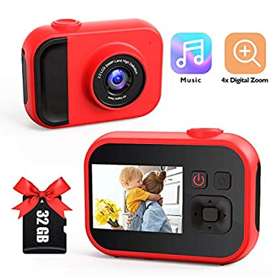 Kids Camera for Girls and Boys,Kids Digital Camera 2.0 Inches Screen 24MP 1080P Video Camcorder Mp3 Game Children Cartoon Selfie Cameras Toys for Gifts - 32GB Memory Card Included