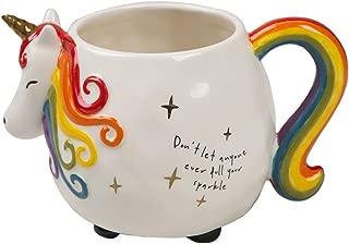 Natural Life Large Ceramic Unicorn Mug - 16 oz, Fun, Cute, 3D Rainbow Unicorn Cup With Handle for Coffee, Tea, More