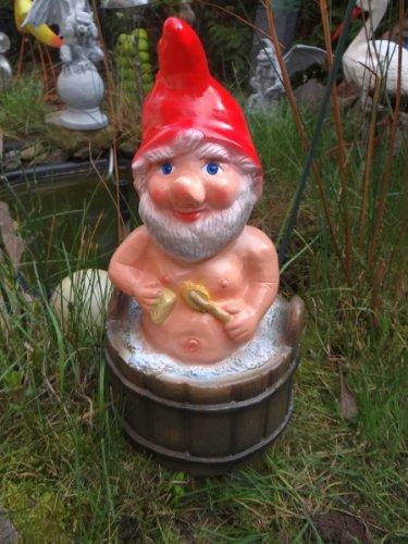 Gartenzwerg im Waschkübel 35cm aus bruchfestem PVC Zwerg - Made in Germany Figur