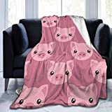Delerain Cute Cartoon Pig Soft Throw Blanket 40'x50' Lightweight Flannel Fleece Blanket for Couch Bed Sofa Travelling Camping for Kids Adults
