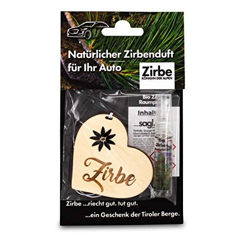 sagl.tirol holzmanufaktur Natürlicher Autoduft aus Zirben Holz inkl. 5ml Zirben Raumparfum Zirbe Herz