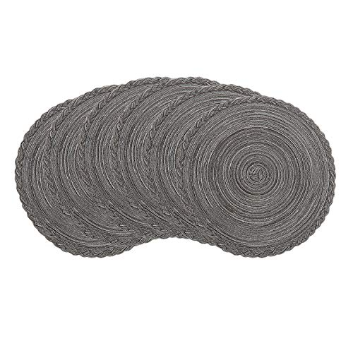 U'Artlines Indoor & Outdoor Round Cotton Placemat, Perfect for Fall, Dinner Parties, BBQs, Christmas Parties and Everyday Use,6pcs placemats, Grey