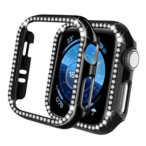 Qianyou Glitter Funda para Apple Watch Serie 3/2/1 42mm con Protector de Pantalla Cristal Templado, PC Completa Carcasa HD Protección Cristal Vidrio Cover de Reloj Watch para iWatch 42mm, Negro
