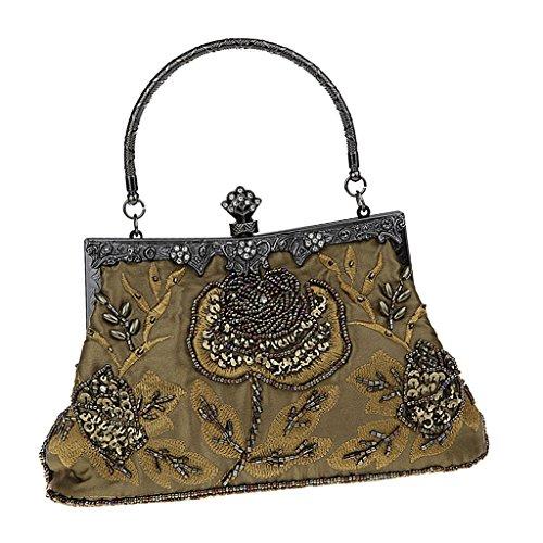 non-brand Damen Clutch Glitzer Handtasche Abendtasche Partytasche mit Clipverschluss für Party Hochzeit Theater Kino - Grün