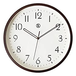 JN A.Cerco Decorative 12-Inch Maple Bentwood Silent Battery Operated Wall Clock