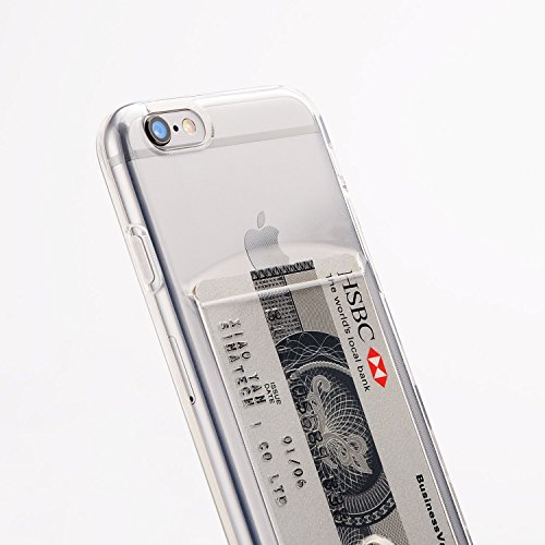 DiiliHiiri Funda Compatible iPhone 6 / 6S con Tarjetero (Silicona Transparente), Carcasa Flexible de TPU para Tarjetas. Diseño Exclusivo