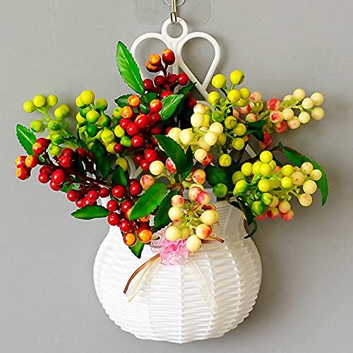 ZYZYZY Cesta De Flores Colgantes De Pared Plástico Flores Secas Simulación De Flor Real Exterior Interior Ramo Jardín Fiesta De Bodas Floral Decoración del Hogar Flores Falsas-Y 26x14cm
