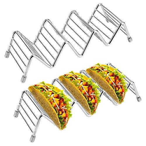 VBNM Taco Halterung Ständer Edelstahl Taco Rack Wellenform Food Ständer Küche Gadget Werkzeug für Tacos Sandwiches Würste behalter 2 Stück