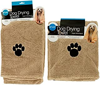 Hometown Basics Set of 2 Super Absorbent Dog Drying Towels with Paw Prints - 1 Large, 1 Medium
