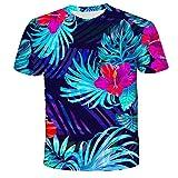 Unisex Camiseta,Camisa De Manga Corta Suelta con Estampado De Flores Geométricas En 3D De Verano-XXL