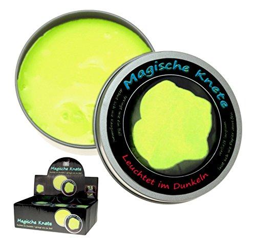 Krüger & Gregoriades 985390 985390-Magische Glow in The Dark, 8 cm, gelb, 1 x Knete