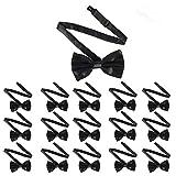 rainday Pajaritas para hombre, de poliéster satinado, 16 unidades, pre atadas/pajarita, moño negro ajustable para cuello formal para fiestas