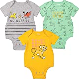 Disney The Lion King Baby Boys 3 Pack Short Sleeve Cuddly Bodysuit 24 Months
