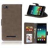 Janeqi para Xiaomi Mi4C/Mi4i(5.0') Funda Cáscara - Funda de Cuero Flip Helado Vintage con Bolsa de Tarjetas Anti-caída de Negocios Case Cover - H1/marrón