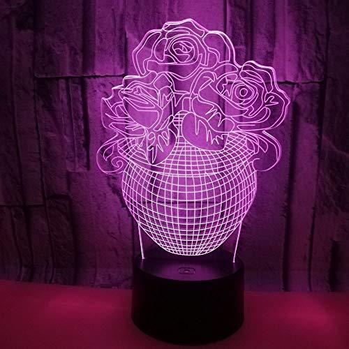 DKEE Lámpara de mesa Rose Jarrón LED Lámpara Colorido Degradado 3D Estereoscópico Táctil Remoto USB Noche Luz Creativa Escritorio Decorativo Cumpleaños Bonsai 20 * 13 cm