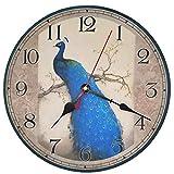 VieVogue Orologio da Parete, Vintage Colorful Francia Parigi Stile Francese del Paese Toscano di Numeri Arabi Design Silenzioso Orologio da Parete in Legno Home Decor (Pavone, 34cm)