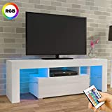 LED TV CABINETS, PALDIN® TV Unit 130cm Tv stand with Multi-colour LED RGB Lights Modern High gloss tv Cabinet with large media storage drawer for Living Room