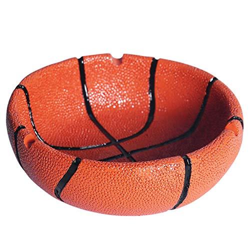 EJKDF Cenicero, a Prueba de Viento y fácil de Limpiar, Personalidad de Baloncesto y fútbol, Adornos de Regalo creativos adecuados para Oficina en casa Interior y al Aire Orange
