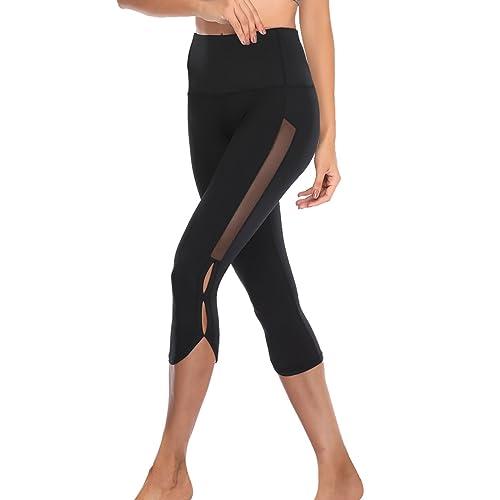 66b6fb31e9f3e TELALEO Yoga Pants for Women, High Waisted Power Mesh Workout Running  Exercise Leggings Pants Black