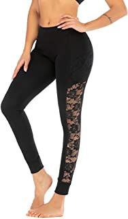 Hurrybuy Lace Yoga Pants Extra Soft Leggings Non See-Through High Waist Workout Leggings with Pockets