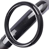 Unique Imports Premium Carbon Fiber Steering Wheel Cover Black Vinyl with Carbon Fiber Accent - Water Resistant - Hot & Cold Protection for Your Hands