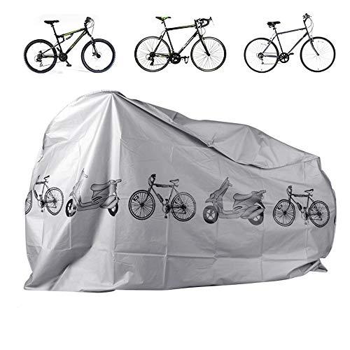Fahrradschutzhülle, wasserdichte Fahrradabdeckung, Fahrradschutzhülle, geeignet für alle Arten von Fahrrädern, Innen- oder Außenlagerung, 110 * 200CM, grau