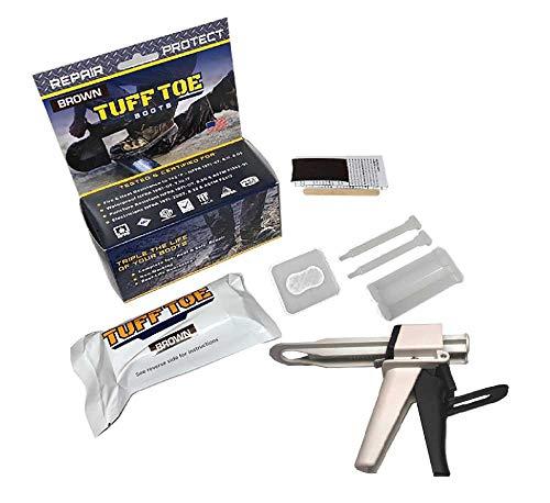 Tuff Toe Work Boot Repair Kit: (Brown) TUFF Gun APPLICATOR & Boot Bundle Combo Upgrade Leather Boot Shoe Adhesive Resole & Restore Steel Toe Work Boots