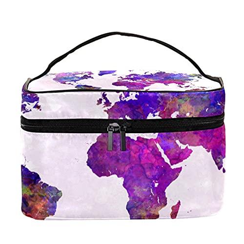 World Map in Watercolor Purple Pattern Travel Makeup Bag Large Cosmetic Bag Makeup Case Organizer Zipper Toiletry Bags for Women Girls