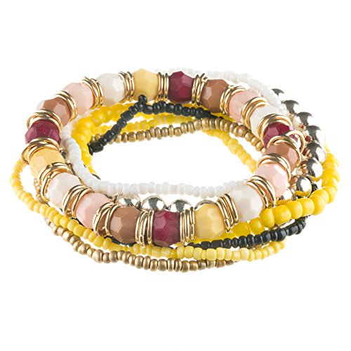 Mianova Mode Damen Armband Armreif 7teilig Elastisch Gummizug Bettel Armband Armreif Gelb
