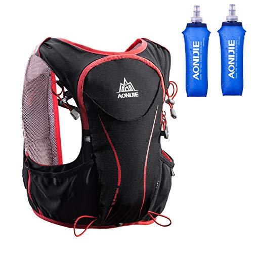 Azarxis 5L Trinkrucksack mit trinkblase Laufrucksack Ultraleichter Rucksack für Outdoor, Wandern, Radfahren, Marathoner (Schwarz (S-M) - mit 2 × 500 ml weichen Wasserflasc)