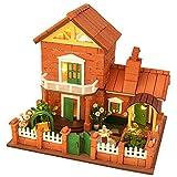 Hellery Miniatur-Puppenhaus, DIY-Gartenhaus-Kit, mit echten Ziegeln, Mini-Pflanzensamen, Erde und LED-Licht für Romantisches Valentinstagsgeschenk