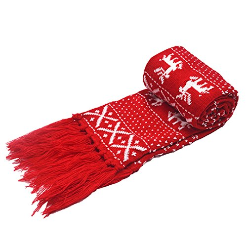 Felice Winter Scarf with Tassel Adult/Child Reindeer Snowflake Knit Scarf Lovely Christmas Scarf (red)