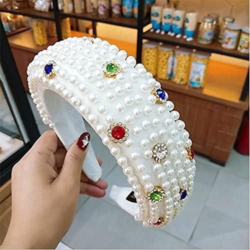 chenfeng Crystal Headband Women Diamond Sponge Hairbands Headband Nailed with Diamond Pearl Retro Hair Hoop Turban Headwear (Color : White)