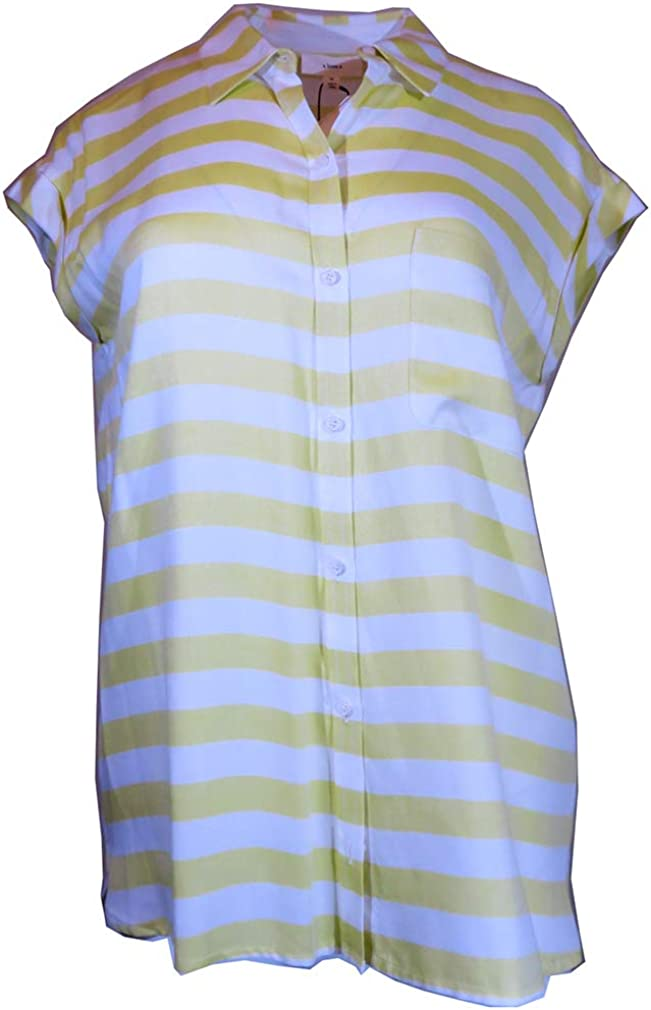 A Loves Button Down discount Stripe Blouse Cap Sleeve All items free shipping Size-M