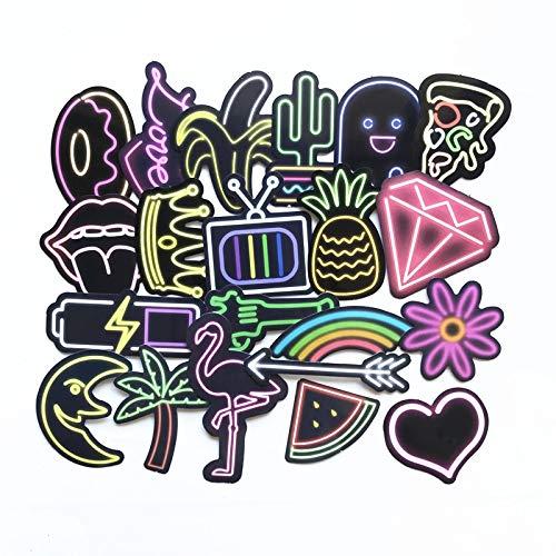 Kleurrijke Dream Led Neon Lights Voor Skateboard Laptop Bagage Koelkast Telefoon Styling Thuis Doodle Diy Sticker 21 stks/partij