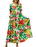 YESNO Women Casual Loose Bohemian Floral Dress with Pockets Short Sleeve Long Maxi Summer Beach Swing Dress (L EJF CR10)