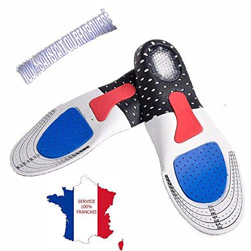 KWIM'S France® Semelles ORTHOPÉDIQUE, Semelle Gel Sport - Semelle Chaussure Amorti Les Chocs et soulage Les épines calcanéennes pour Un Confort Opti (40-44)