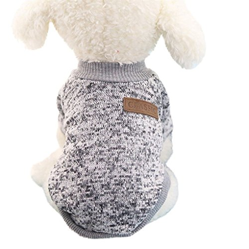 Price comparison product image Beautyvan,  8 Color Pet Dog Puppy Classic Sweater Fleece Sweater Clothes Warm Sweater Winter (M,  Gray)