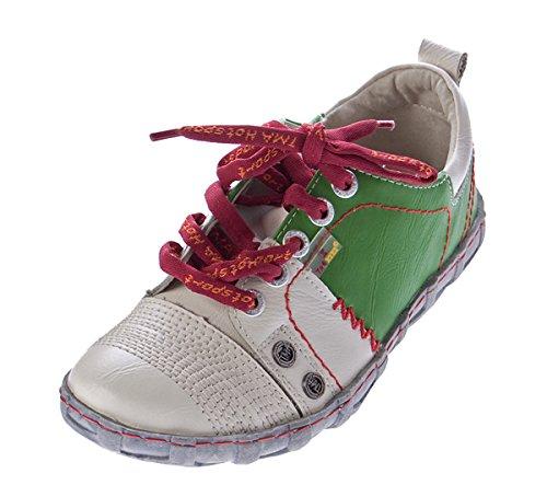 TMA Damen Leder Halb Schuhe Sneakers Weiß Grün Used Look Comfort Turnschuhe Eyes Gr. 40