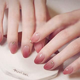 NEW Style False Nails, Pink White with Diamond Short Nail Art Round Head False Nails 24pcs 12 Different Size (Pink/White)