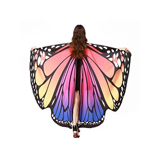 QinMM Frauen Schmetterlingsflügel Schal Schals, Damen Nymph Pixie Poncho Kostümzubehör (Heißes Rosa)